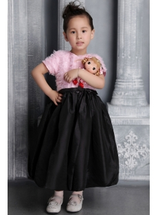 Pink and Black Flower Girl Party Dress 2633