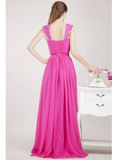 Pretty Fuchsia Long Celebrity Gown with Tank Straps