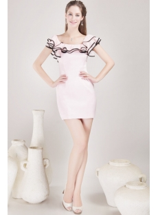 Pretty Pink and Black Prom Dress with Ruffle Neckline