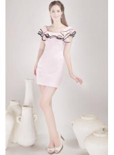 Pretty Pink and Black Prom Dress with Ruffle Neckline:1st-dress.com