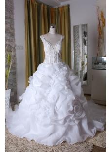 Princess Strapless Long / Floor-Length Satin  Organza 2013 Bridal Gowns 5310