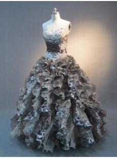 Princess Strapless Sweetheart Floor-Length Satin Organza Quinceanera Dress 4332