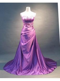 Purple A-Line Floor-Length Satin Prom Dress 5840