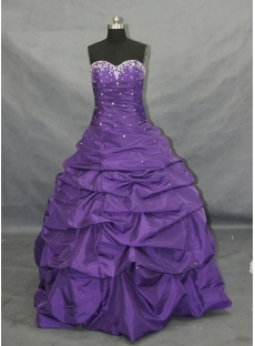 Purple A-Line Strapless Sweetheart Taffeta Plus Size Quinceanera Dress 00117