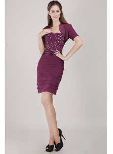 Purple Chiffon Formal Evening Dress with Short Jacket