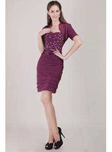 Purple Chiffon Formal Evening Dress with Short Jacket