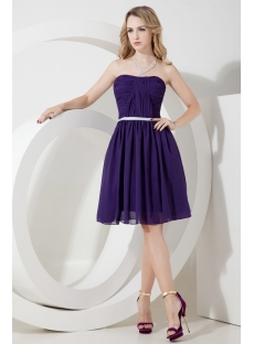 Purple Chiffon Short Beach Bridesmaid Dress
