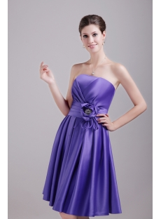 Purple Knee Length Bridesmaid Dress Cheap 1371