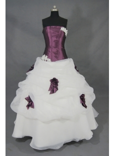 Purple Taffeta And White Organza  Floor-Length Quinceanera Dress 02015