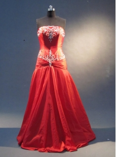 Red A-Line Floor-Length Taffeta Prom Dress 1841