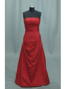 Red A-Line Princess Strapless Satin Prom Dress 04032