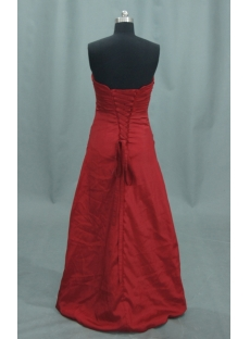 Red A-Line Princess Strapless Satin Prom Dress 04032