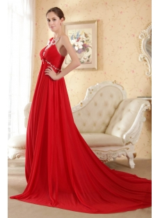 Red Backless Maternity Wedding Gown For Plus Size