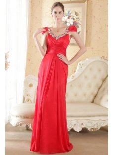 Red Beautiful Mature Bridal Dress with Cap Sleeves