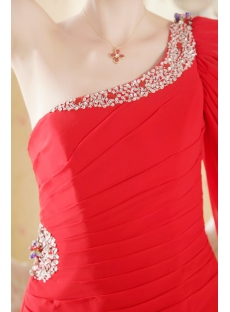Red Chiffon Beach Wedding Gown with One Shoulder