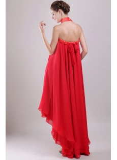 Red Chiffon Empire Bridal Gown for Plus Size with High-low Hem