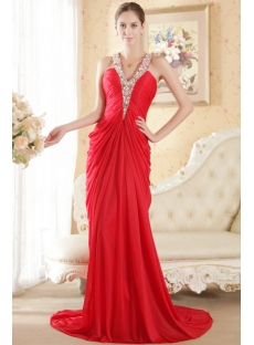 Red Halter Column Chiffon Elegant Bridal Gown