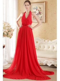 Red Halter Pregnant Evening Dress Cheap with Open Back