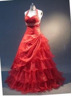 Red Halter Sleeveless Satin Organza Quinceanera Dress 1732
