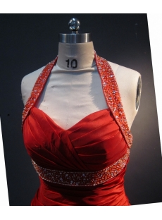 Red Halter Sleeveless Satin Organza Quinceanera Dress 1732