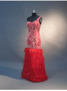 Red Mermaid Trumpet One Shoulder Satin Prom Dress 1590