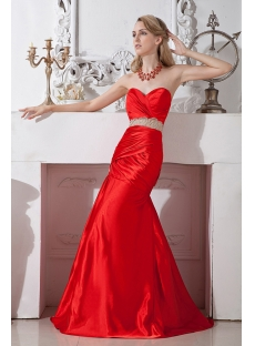 Red Pretty Mermaid Prom Dress Cheap