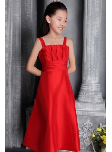 Red Taffeta Junior Bridesmaid Dresses Cheap 2578