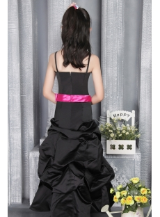 Romantic Black and Hot Pink Junior Bridesmaid Gown 2786