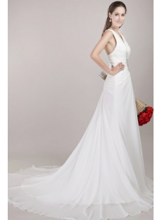 Romantic Cheap Beach Bridal Gowns with T-Back