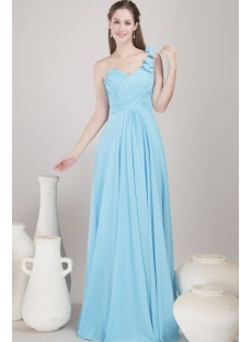 Romantic Chiffon Long Blue Graduation Dress for College