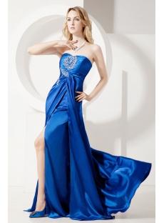 Royal Blue Plus Size Evening Dress with Slit Front