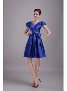 Royal Blue V-neckline Homecoming Dress with Cap Sleeves 1312