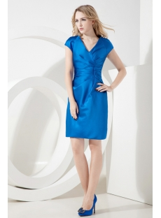 Royal Formal Evening Dress with Short Sleeves
