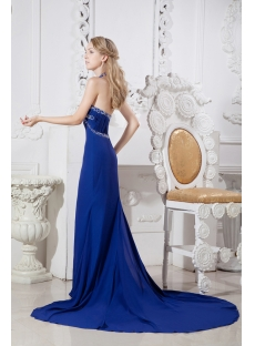 Royal Haler Sexy Evening Dress with Train
