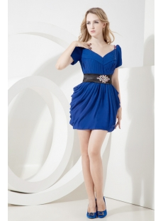 Royal Lantern Informal Prom Dress with Short Sleeves