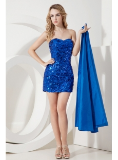 Royal Sequins Cocktail Dress with Detachable Train