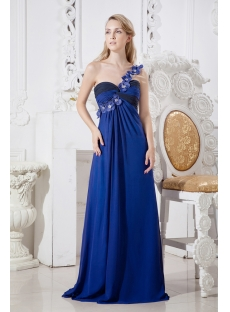 Royal and Black One Shoulder Plus Size Evening Dress for Summer