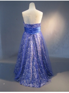 Royalblue A-Line Ball Gown Satin Tulle Prom Dress 1586
