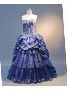 Royalblue A-Line Floor-Length Taffeta Prom Dress 1635
