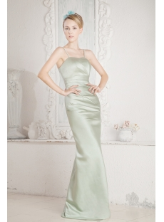 Sage Long Satin Bridesmaid Dress for Beach