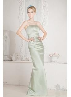 Sage Long Satin Bridesmaid Dress for Beach