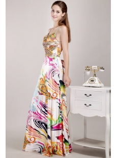 Sexy Colorful Printed Evening Gowns with Open Back
