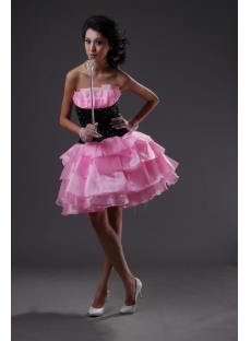Sheath / Column Strapless Short / Mini Satin Organza Sweet 16 Dress 2228-1