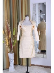 Sheath / Column Tight Jewel High Neck Knee-Length Satin Mother of Bride Dress 5345