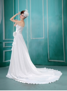 Sheath/Column Sweetheart Court Train Chiffon Beach Wedding Dress With Ruffle F-106