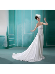 Sheath/Column Sweetheart Court Train Chiffon Wedding Dress With Ruffle F-097