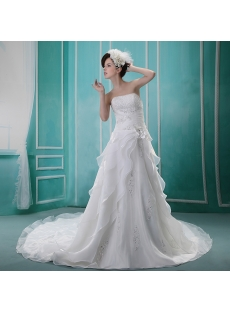 Sheath/Column Sweetheart Court Train Chiffon Wedding Dress With Ruffle H-017