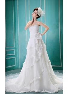 Sheath/Column Sweetheart Court Train Organza Wedding Dress With Ruffle Beadwork H-127