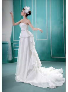 Sheath/Column Sweetheart Court Train Organza Wedding Dress With Ruffle F-081