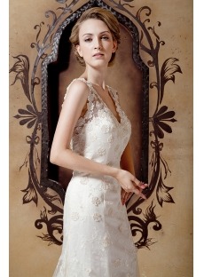 Sheath Mature Lace Bridal Dress with V-neckline